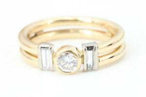 Brillant Gold Ring 750 Gelbgold 18K 3 Diamanten ca 0,50 ct. VS1 H Baguette Gr 51