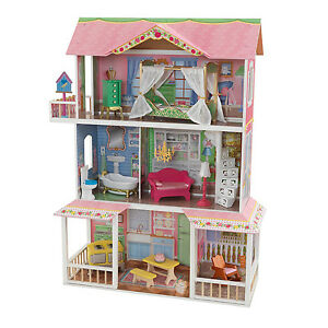 KidKraft-Sweet-Savannah-Wooden-Pretend-Play-House-Doll-Dollhouse-w-Furniture
