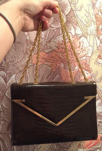 VTG 50s Nan Duskin Block Handbag Brown Stamped Cro