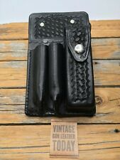 Paramedic Kit Black Basketweave Leather 3 Compartment Medic Emt Ems Kit Case