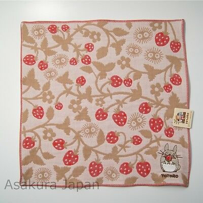 Totoro gauze handkerchief Strawberry Beige Studio Ghibli Made in Japan