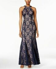 Nightway Womens Blue Sleeveless Halter Neck Glitter Lace Dress Size 8