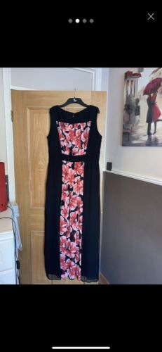 Ladies 16 abito rosa nero Debenhams occasione Once Sise Worn Maxi e yvnP8Nwm0O