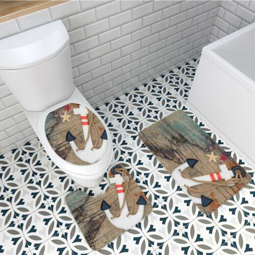 3Pcs Nautical Anchor Bathroom Non-Slip Pedestal Rug+Lid Toilet Cover+Bath Mats