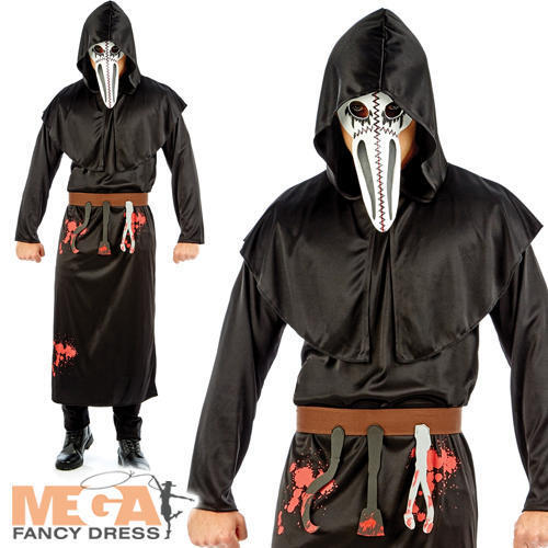 Plague Doctor Mens Fancy Dress Medieval Black Death Adults Halloween Costume New