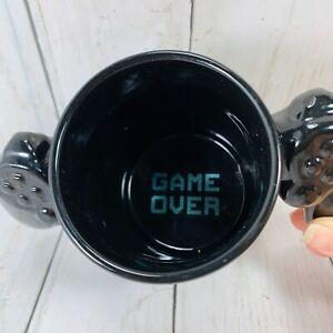 PlayStation Coffee Mug Black Game Over Controller Arms Handle Bigmouth Inc 10oz