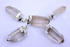 5 Silver Plated Quartz Crystal Point Pendants Bulk Wholesale Lot Healing 1