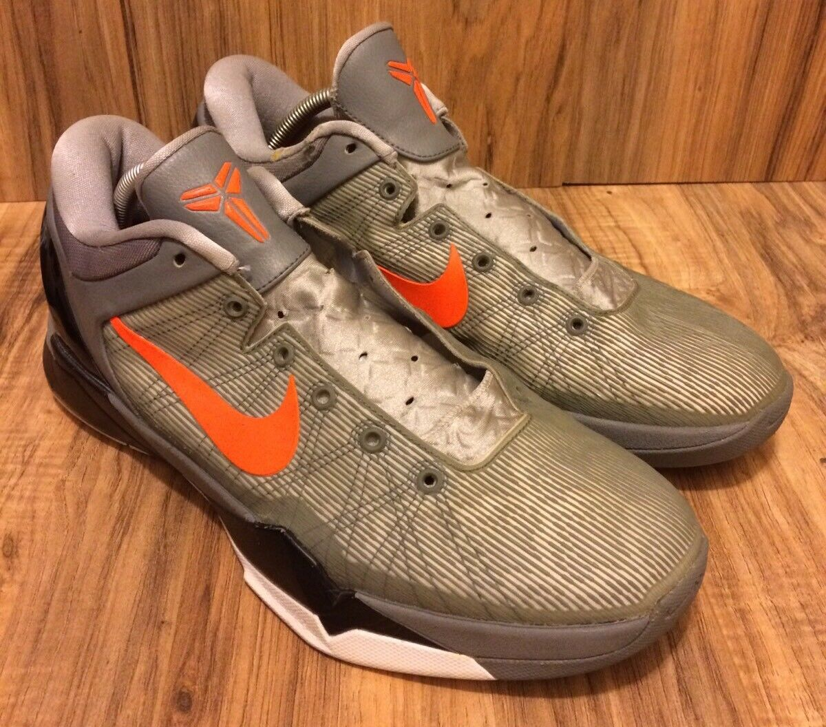 NIKE ZOOM KOBE VII 7 SYSTEM    PREDATOR PACK  WOLF GREY-orange SZ 12 [488371-002] 6ba67b