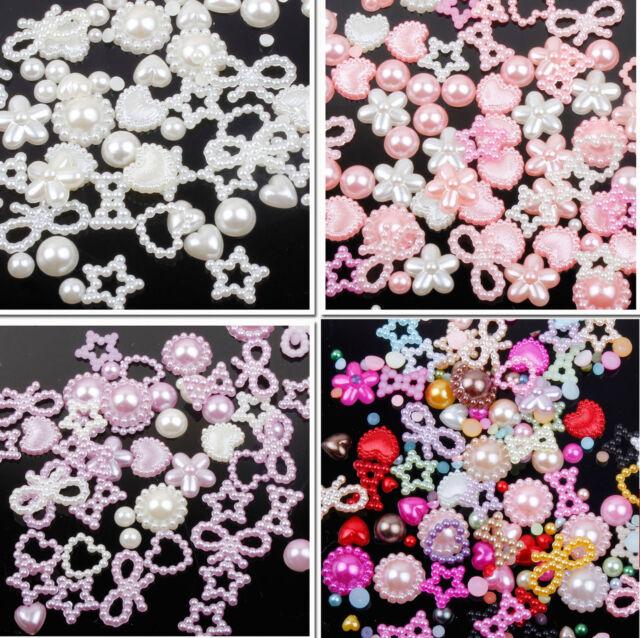 Approx 50 Mixed Cabochons Bow Heart Stars Flat Back Pearls Cute Kawaii Face Gems
