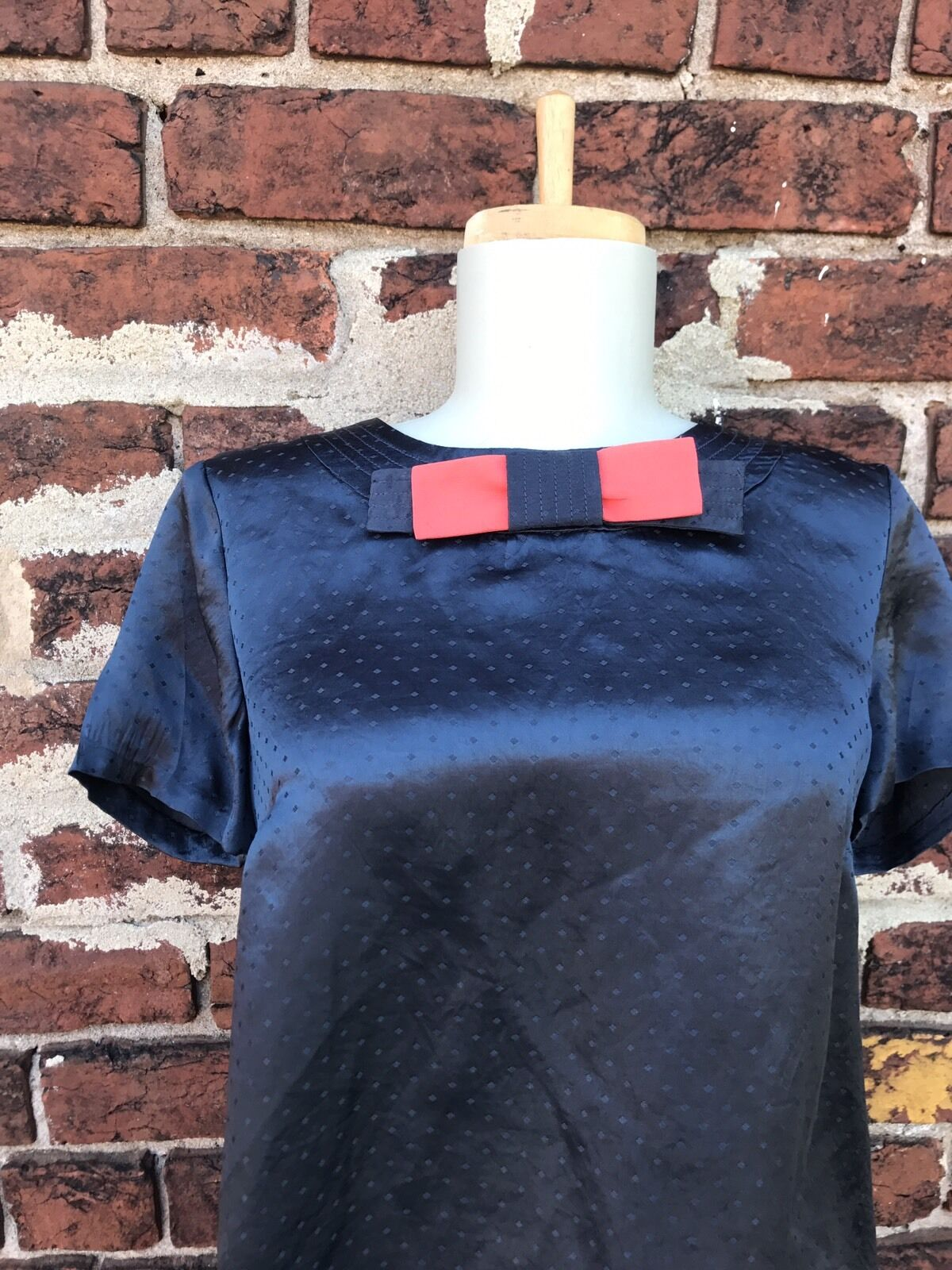 Marc Marc Jacobs 6 Navy Satin Bow Retro Swiss Polka Dot Dotted Detail Blouse Top