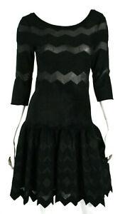 ALAIA-Black-Knit-Sheer-Zig-Zag-Stripe-Drop-Waist-Fit-amp-Flare-Dress-40