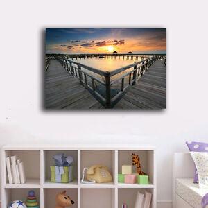 70-100-3cm-Beach-Side-Wharf-Canvas-Print-Framed-Wall-Art-Home-Decor-Painting-XI
