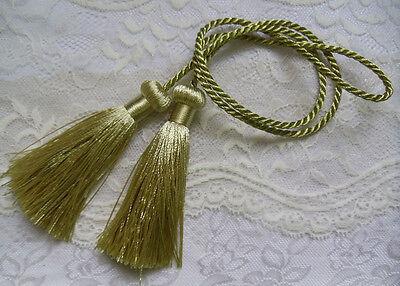 2 Pieces (4 tassels ) Light Gold Curtain TieBack Tassel Fringe w/cords-L001LG