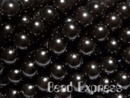 Bead Lot 50pc Glass Pearl Round Beads Jet Black 8mm CR8003