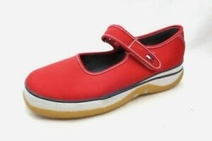 f144acdb Vintage Tommy Hilfiger Red Canvas Style Vegan Mary Jane Chunky Shoes ...