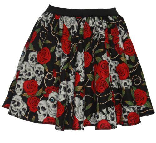 """Ladies 15/"""" Day of the Dead Halloween Skulls /& Roses Fancy Dress Skater Skirts"""