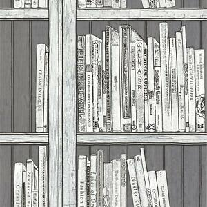 Image Is Loading Silver Bookcase Wallpaper Modern Library Books Wooden Effect