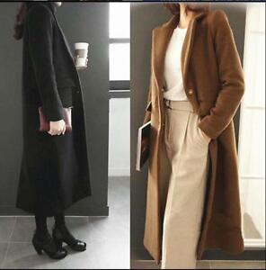 Cashmere Blend Bt1 Womens Trench Single Overcoat Outwear Maxi uld breasted Coat q5wPwfvEnZ