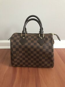 1cd96591ae46 Image is loading Authentic-Louis-Vuitton-Speedy-25-Damier-Ebene