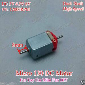 DC 3V 5V 6V 12000RPM High Speed Dual Shaft axle Mini 130 DC Motor Toy Car DIY