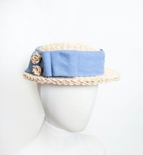 1950s Boater Hat Beige Blue Woven Straw Sun Hat sz