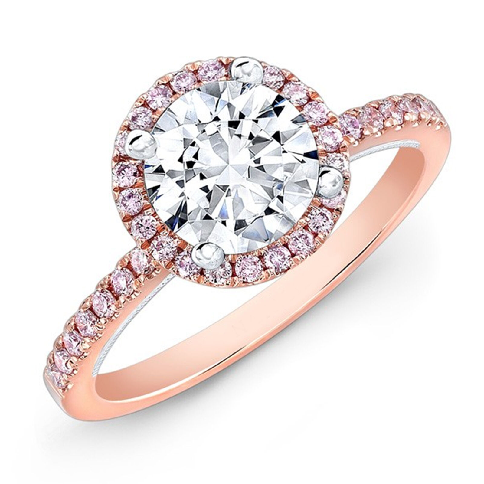 Original Round 1.25 Ct Diamond Engagement 14K pink gold Size 8 9 10