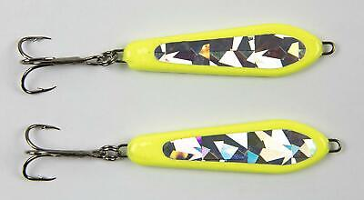 3 oz. 2-Pack Chartreuse Glitter Casting Spoon Slab Fishing Lures for Bass