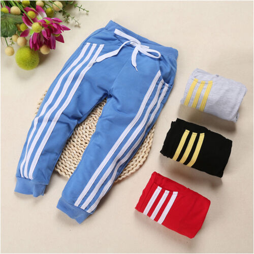 Baby Boys Girls Sports Stripe Pants Toddler Kid Sweat Pants Joggers Bottoms 2-7T