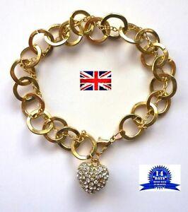 Rhinestone-Studded-Hooped-Bracelet-Love-Heart-Pendant-Gold-Tone-Gift-Hooped
