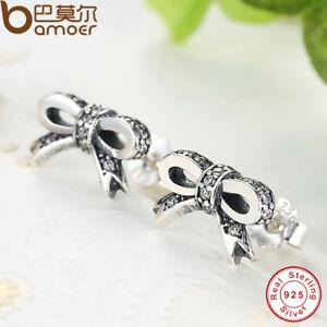 BAMOER-S925-Sterling-Silver-Bow-Stud-Earrings-With-Clear-AAA-CZ-Women-Jewelry
