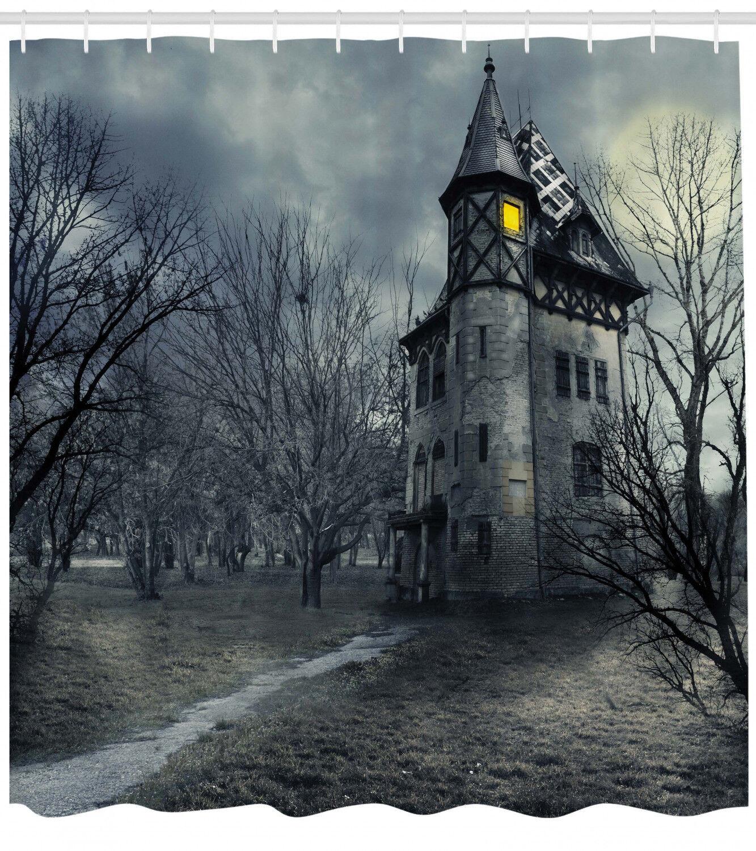 "Halloween Night Graveyard Haunted House Shower Curtain Set Bathroom Decor 72x72/"""