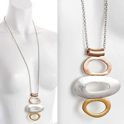 Lagenlook three tone colour large unusual style pendant long necklace jewellery