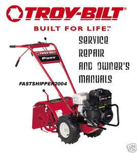 Troy Bilt Horse Tiller Service Manual Owner Parts Catalog Pto Pony Rh Ebay  Com Troy
