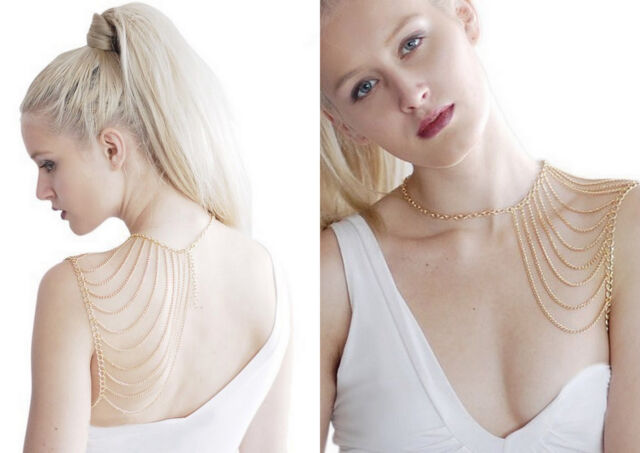 New Multilayer Tassel Necklace Body Harness Metal Sexy Shoulder Body Chain..*32*