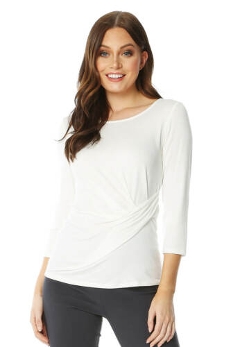 oman Originals Womens 3//4 Sleeve Ruched Side Top