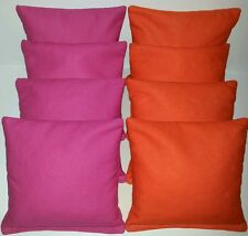 SET OF 8 FUCHSIA PINK & ORANGE CORNHOLE BEAN BAGS FREE SHIPPING!