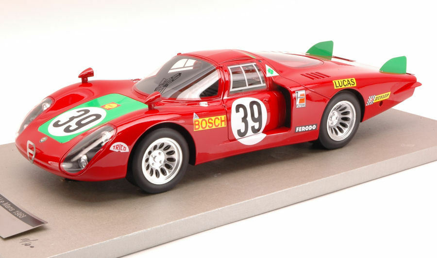 Alfa Romeo 33/2 Long Tail  39 4Th 24H Le Mans 1968 Tecnomodel 1:18 TMD1808C Mini