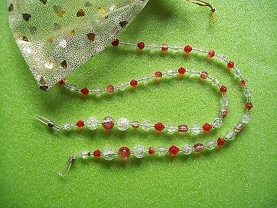DemüTigen Brillenkette In Organza, Kristall Rot, Crackle-glasperlen, Handarbeit Unikat