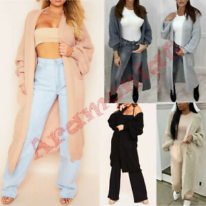 Women-039-s-Ladies-Chunky-Knitted-Oversized-Balloon-Sleeve-Long-Jumper-Maxi-Cardigan