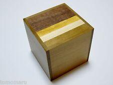 By OKA 54mm Cube 4steps Natural wood Japanese Wood Puzzle karakuri Box Brand NEW