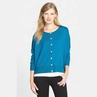 Eileen Fisher Merino Jersey Round Nk Boxy Cardigan Sweater, Crystal Blue, Pm,nwt