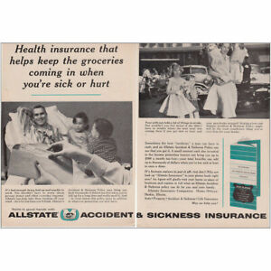 1961 Allstate Health Insurance That Helps Keep The Groceries Vintage Print Ad Ebay