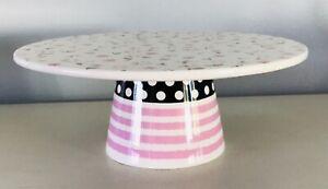 Sur-La-Table-Cake-Plate-on-Pedestal-Ceramic-Dessert-Stand-Easter-Spring-Pink