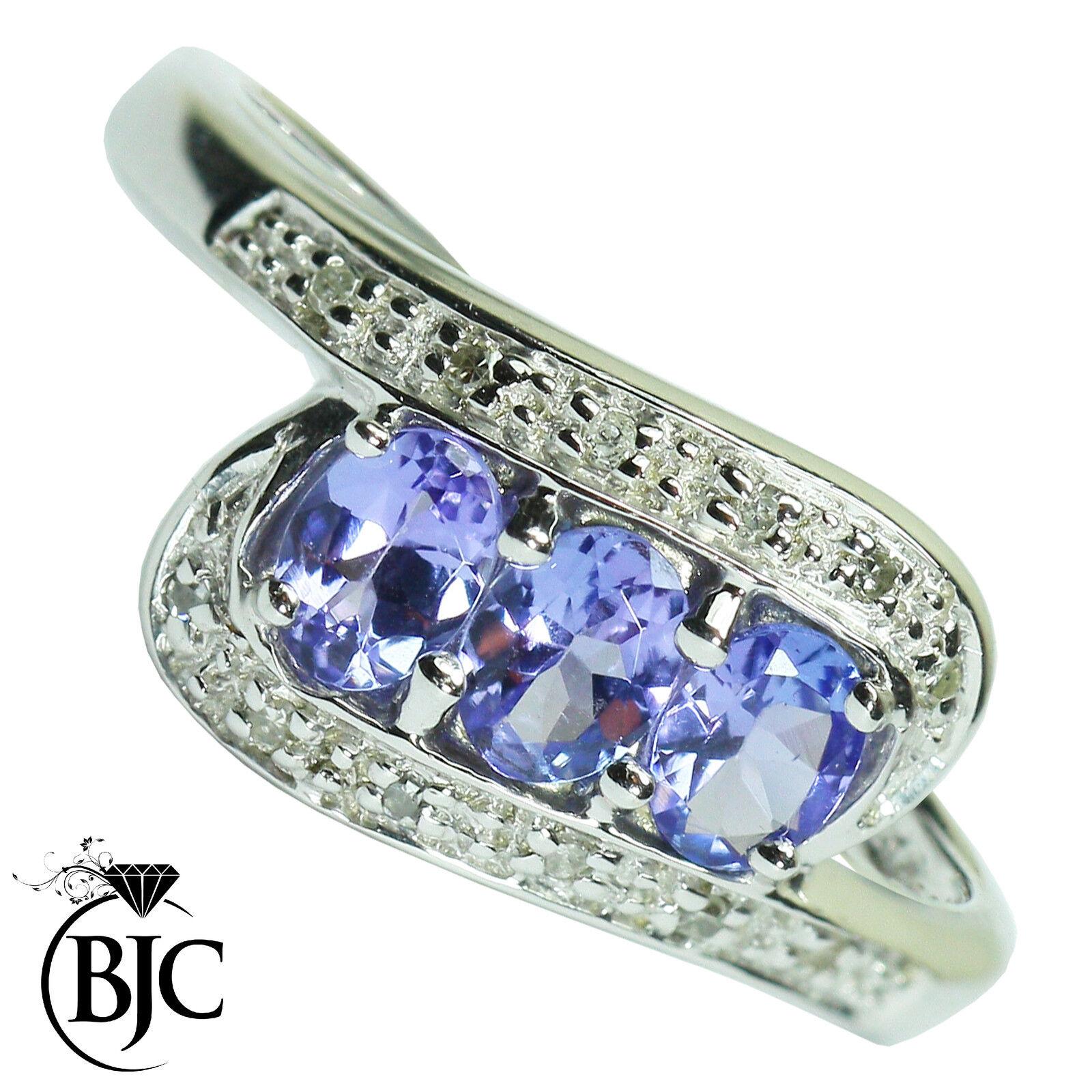 Bjc 9ct gold Bianco Tanzanite & Diamante a Grappolo MISURE L Anello Motivo
