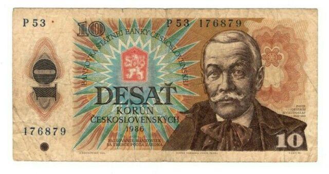 CZECHOSLOVAKIA 10 Korun (1986) P-94b F/VF Prefix P 53 Banknote Paper Money