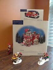 Dept 56 Hook & Ladder Fire Station #3 Truck Dalmatian Dog Christmas Village Lot