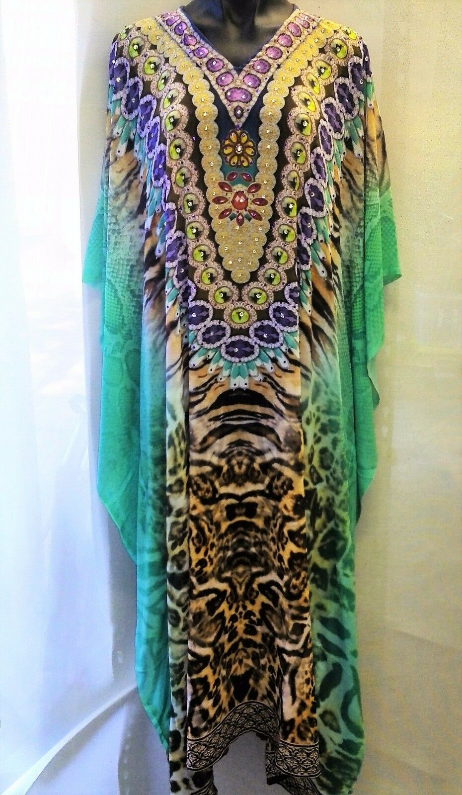 Long Sheer Embellished Kaftan Tunic  Digital Printed Taille 16-18-20-22-24