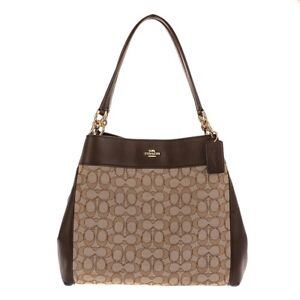 d55ed9e537 Image is loading Coach-Lexy-Khaki-Brown-Signature-Outline-Leather-Shoulder-