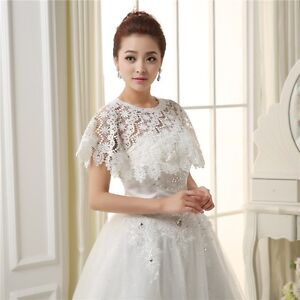 3ed6325ac Details about Women Ivory Short Wedding Bridal Lace Bolero Shawl Cape Shrug  Wrap 2 Styles Coat