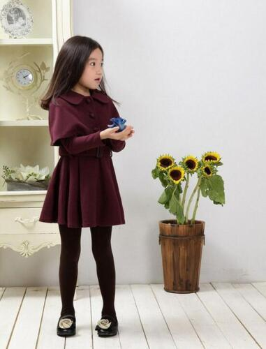 Kids Girls Warm Wool Blend Cape Coat Slim Belt Jacket Outwear Princess Dress Hot
